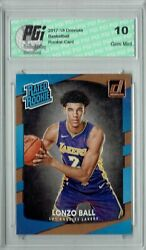 Lonzo Ball 2017 18 Donruss #199 NBA Rated Rookie Card PGI 10