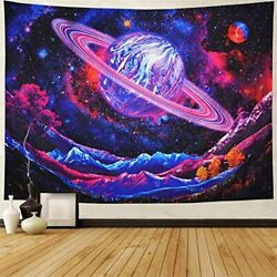 Psychadelic Tapestry Cool for Bedroom Vibrant Trippy Space Planet Galaxy Saturn $27.67