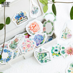 46pcs Lovely Paper Flower Stickers DIY Journal Diary Scrapbooking Stationery $2.40