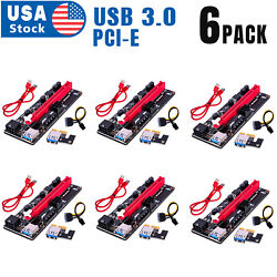 6PACK PCI E 1x to 16x Powered USB3.0 GPU Riser Extender Adapter Card VER 009s $59.98
