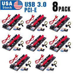 8PACK VER009S PCI E Riser Card PCIe 1x to 16x USB 3.0 Data Cable Bitcoin Mining $62.98