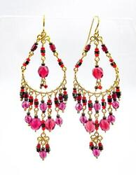 ARTISANAL Red Fuchsia Pink Smoky Hematite Crystals Gold Chandelier Earrings $26.39