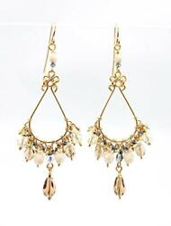 GORGEOUS Lightweight Smoky Topaz Creme Citrine Crystals Gold Chandelier Earrings $21.59