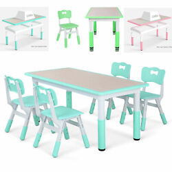 Kids Desk and 4 Chairs Set Height Adjustable Childen Study Play Dinner Table $119.99