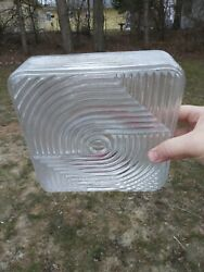 Vintage Light Fixture Shade Glass Square Mid Century modern 1950#x27;s 1960#x27;s $69.99