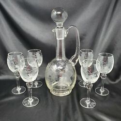 Vintage Etched Crystal Vintage Wine Decanter Set With Etched Grapes And Leaves $59.00