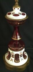 Vintage Bohemian Czech White Cut to Cranberry Ruby Red Lamp Painted Flowers $199.99