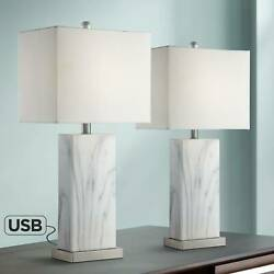 Modern Table Lamps Set of 2 with USB White Faux Marble for Living Room Bedroom $139.99
