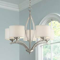 Brushed Nickel Chandelier 27 1 4quot; Modern Drum Shades 5 Light Fixture Dining Room $299.99