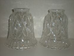 2 Crystal Bell Shape Lamp Pendant Shades Scallop Edge 2 1 4quot; Fitter Vtg $76.92