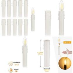12Pcs 4quot;Tall Candle Socket Covers Chandelier Candle Sleeves Parts White Candle $13.83