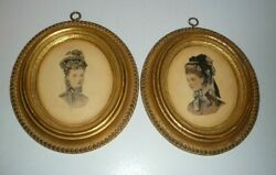 Two Vintage Wall Hanging Lady Portrait Plaster Plaques $18.45
