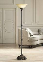 Traditional Torchiere Floor Lamp Bronze Amber Glass for Living Room Bedroom $129.99