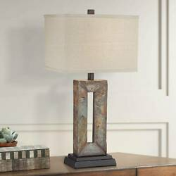 Rustic Table Lamps Set of 2 Natural Stale Rectangular for Living Room Bedroom $199.98