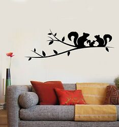 Vinyl Wall Decal Tree Branch Squirrel Family Love Bedroom Stickers g5124 $29.99