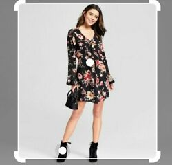 Xhilaration Black Floral Boho Dress Women's Size Large $15.00