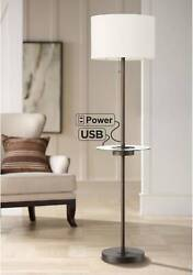 Modern Floor Lamp with Table USB Outlet Bronze Fabric Shade Living Room Bedroom $129.95