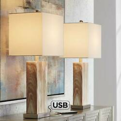 Modern Table Lamps Set of 2 with USB Port Brown Marble Nickel Living Room House $119.95