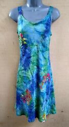 Batik Fit amp; Flare Bali Tank Top Sun Dress BLUE Green Leaves L XL XXL $24.99