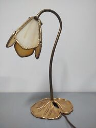 Antique Slag Glass And Brass Tulip lily pad Lamp $69.99