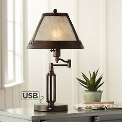 Traditional Desk Lamp Swing Arm with USB Bronze Natural Shade for Office Table $149.95