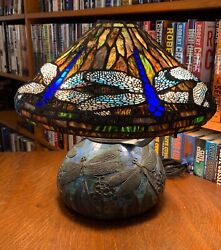 Tiffany Reproduction Blue Bodied Dragonfly Lamp on Bronze Dragonfly Mosaic Base $3950.00