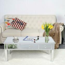 FCH Mirrored Coffee Cocktail Table Silver Finish Living Room Accent Table Home $152.99