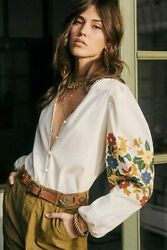 SEZANE Reety Embroidered Floral Sleeve Button Down Blouse Top FR 36 US 4 S $123.25
