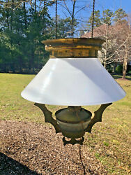 Antique Victorian Hanging Oil Parlor Lamp Light w Etched Brass Frame 1882 $150.00