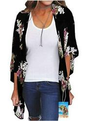 YULOONG Womens Cover Ups Chiffon Floral Print Kimono Loose Black a Size Large $9.99