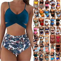 Ladies Push Up Bathing Dress High Waist Bikini Set Swimwear Swimsuit Beachwear $17.28