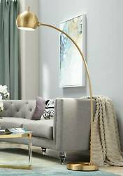 Modern Chairside Arc Floor Lamp Antique Brass Swivel Head Living Room Reading $299.99