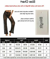 Womens Cover Up Pants Sexy Hollow Out Crochet High Waist Black 9 Size Small 9j $9.99