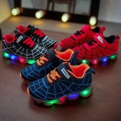 Children Kids Boys Girls Spiderman LED Trainers Shoes Flashing Light Up Sneakers AU $9.99