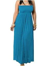 811 Smocked Chest Strapless Tube Long Maxi Beach Teal Blue Size Small 9sDD $9.99