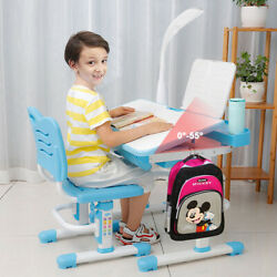 Student Desk and Chair Set Height Adjustable Children School Study Desk Blue $69.99