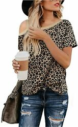 BMJL Women#x27;s Casual Cute Shirts Leopard Print Tops Basic Leopard08 Size Large