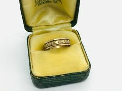 Victorian Antique 10K Rose Gold Flower Decorated Cigar Band Ring $240.00