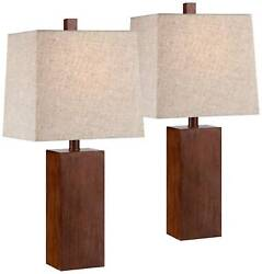 Modern Accent Table Lamps Set of 2 Brown Wood Tan for Living Room Bedroom Office $69.98