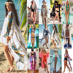 Women#x27;s Bikini Cover Up Cardigan Swimwear Beach Boho Dress Bathing Dress US $15.76