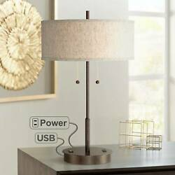 Modern Table Lamp with USB Transitional Bronze Slim for Living Room Bedroom $109.99