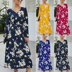 Ladies Womens Floral Long Sleeve Maxi Dress V Neck Casual Holiday Party Dresses $17.28