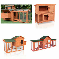 Large Wooden Backyard Chicken Coop Hen House Cage Rabbit Hutch with Run Ramp $189.99