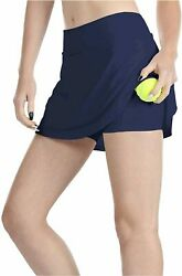 icyzone Athletic Skirts for Women Workout Running Golf Navy Size Large 9XNN $9.99
