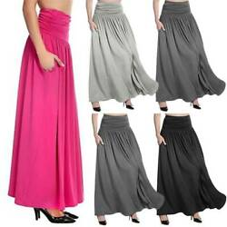 Women Ladies High Waist Long Skirt Solid Casual Loose Party Plus Size Maxi Dress $17.57