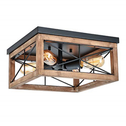 Eyassi Wooden Flush Mount Ceiling Lights 4 Light Farmhouse Close to Ceiling for $96.41