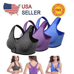 Women Sports Bra With Front Zip Yoga Push Up Vest Support Padded Vest Tops Girls $8.07