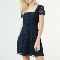 NWT Aeropostale Navy Blue Fit Flare Lace up Cute Dress Size S