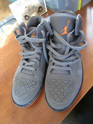 Air Jordan 743188 032 Men#x27;s Nike Grey Orange Sneakers Size 9