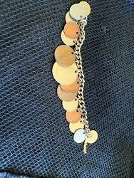 Vintage 7 inch Link Chain Bracelet with 15 Foreign Coins $12.00